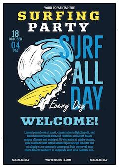 Diseño gráfico de cartel de aventura de verano con tabla de surf, olas y texto