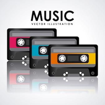 Diseño gráfico de cinta de cassette de música