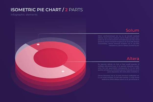 Diseño de gráfico circular isométrico, plantilla moderna para crear infografías, presentaciones, informes, visualizaciones. muestras globales.