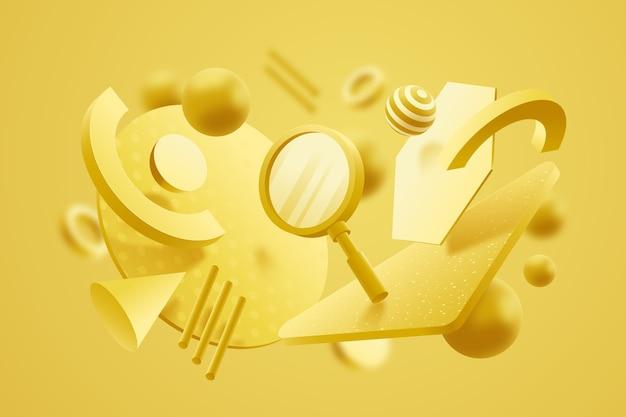 Diseño gráfico del concepto 3d en colores pastel