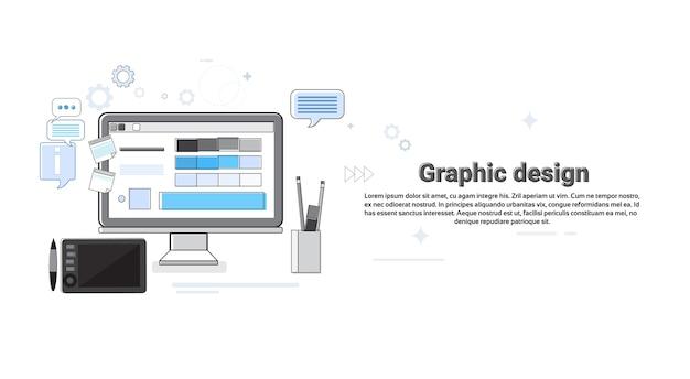 Diseño gráfico creativo diseñador trabajo equipo concepto banner delgada línea vector illustration