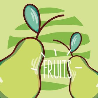 Diseño gráfico del ejemplo del vector de la historieta de las frutas de las peras
