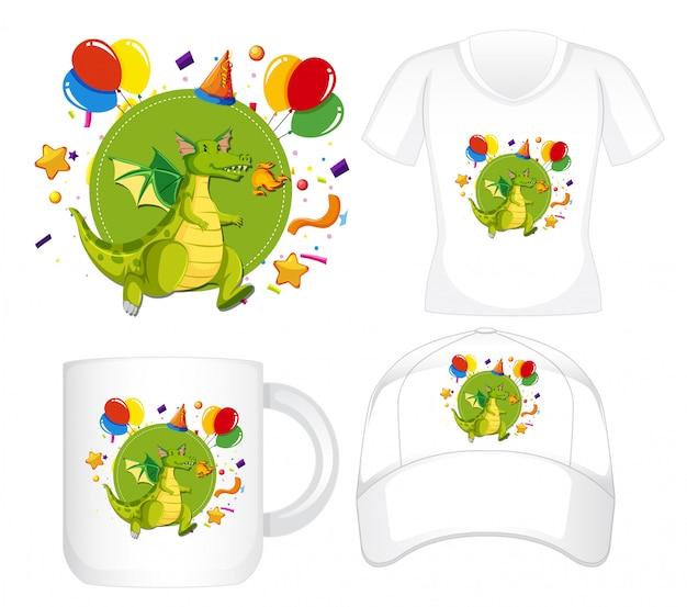 Diseño gráfico en diferentes productos con dragon verde
