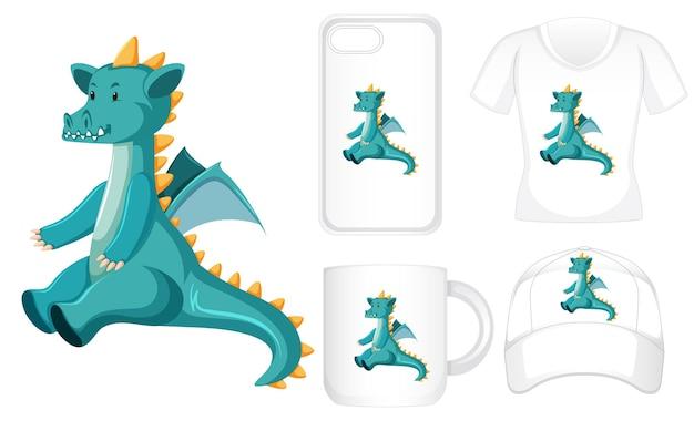 Diseño gráfico en diferentes productos con dragón verde.