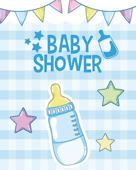Diseño gráfico del ejemplo azul del vector de la tarjeta de la ducha de bebé