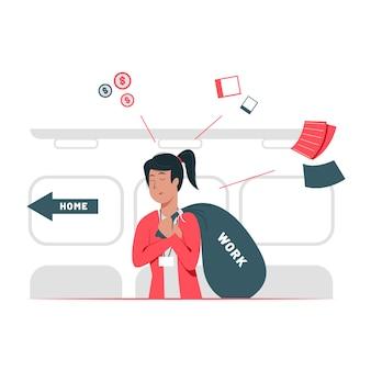 Diseño gráfico del ejemplo del concepto de mujeres con exceso de trabajo que llevan su trabajo a casa.
