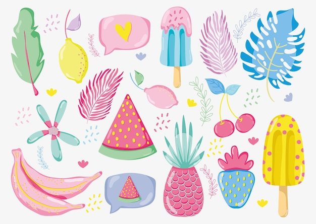 Diseño gráfico del ejemplo del vector de las frutas en colores pastel punchy