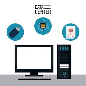 Diseño gráfico del ejemplo del vector del icono del almacenamiento de centro de datos