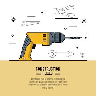 Diseño gráfico del ejemplo del vector del icono de la infografía de las herramientas de construcción