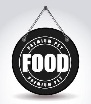 Diseño gráfico del emblema de comida para mascotas