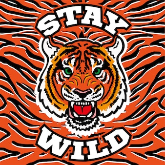 Diseño gráfico estampado bordado con cabeza de tigre salvaje enojado con la frase