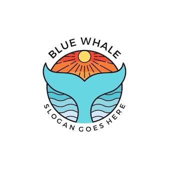 Diseño gráfico de la idea del símbolo del emblema del logotipo de la ballena azul