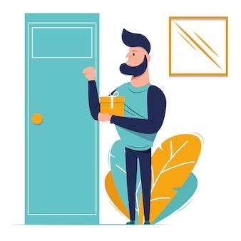 El diseño gráfico de la ilustración de un hombre está de pie y tocando la puerta para dar un regalo.
