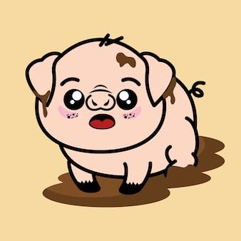 Diseño gráfico lindo y sucio del ejemplo del vector de la historieta del animal del cerdo