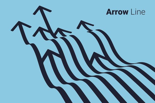 Diseño gráfico de la línea de flecha.