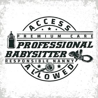 Diseño gráfico de logotipo vintage, sello de impresión, emblema de tipografía de niñera