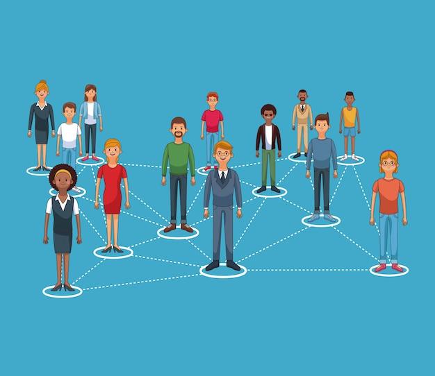 Diseño gráfico de la red social y de la gente del vector