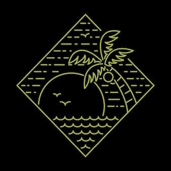 Diseño gráfico salvaje de la camiseta del arte de la ilustración de la naturaleza del mar de la playa