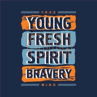Diseño gráfico de la tipografía del lema joven abstracto para la camiseta de la impresión lista