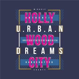 Diseño gráfico vectorial de hollywood city camiseta