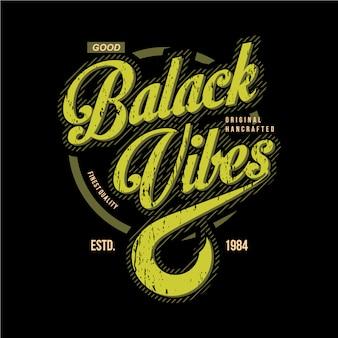 Diseño gráfico vintage de la tipografía vibes negro