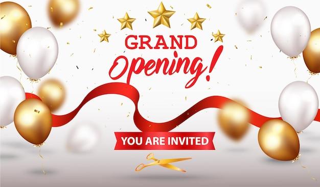 Diseño de gran inauguración con cinta dorada y confeti.