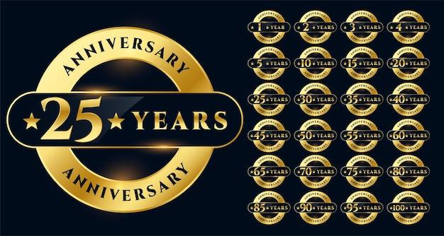 Diseño de gran set de etiquetas de aniversario de oro