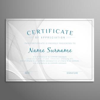 Diseño gris elegante abstracto de certificado