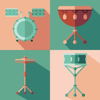 Diseño de grupo de iconos de instrumentos, melodía de sonido de música e ilustración de tema de canción