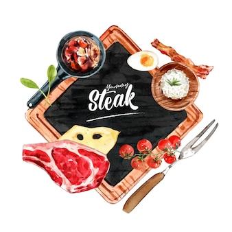 Diseño de guirnalda de filete con arroz, carne, ilustración acuarela de tomate