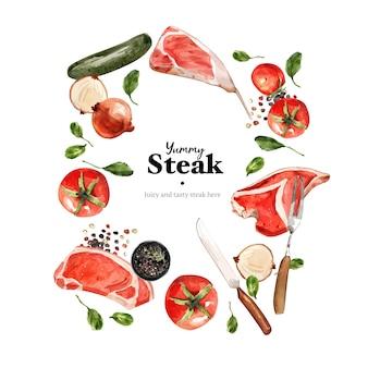 Diseño de guirnalda de filete con vegetales, ilustración acuarela de carne fresca