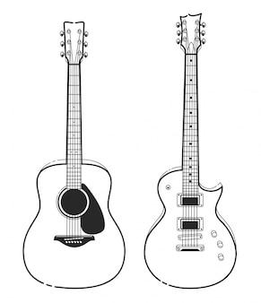 Diseño de guitarra dibujado a mano