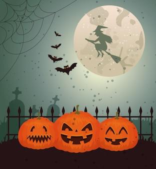 Diseño de halloween con bruja sobre luna y cementerio