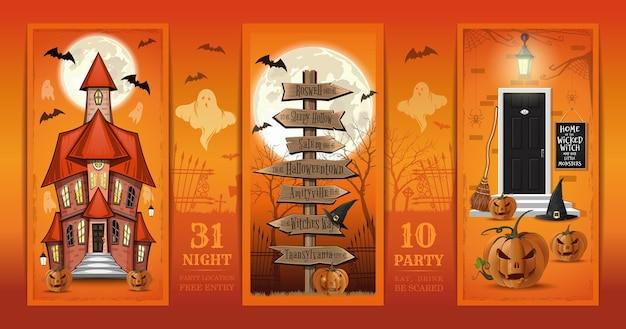 Diseño de halloween. casa embrujada y casa decorada de halloween y señal de tráfico vintage. tarjeta de invitación para una fiesta de noche de halloween. come, bebe, ten miedo. ilustración vectorial