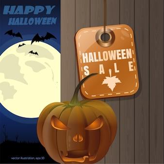 Diseño de halloween. etiqueta - venta de halloween. jack o lantern sobre un fondo de una valla de madera y una luna llena. ilustración vectorial