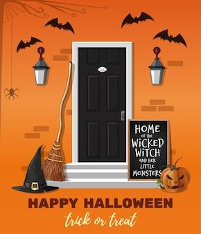 Diseño de halloween. hogar de la malvada bruja y sus pequeños monstruos. la casa está decorada para la fiesta de halloween. ilustración vectorial