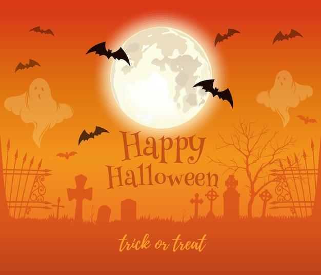 Diseño de halloween. luna llena sobre cementerio embrujado. feliz halloween. truco o trato