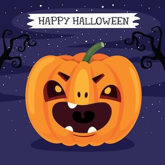 Diseño de halloween con tarjeta de felicitación de personaje de dibujos animados
