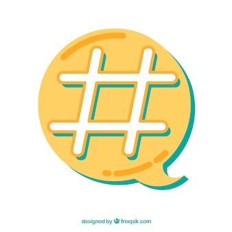 Diseño de hashtag con burbuja de texto amarilla