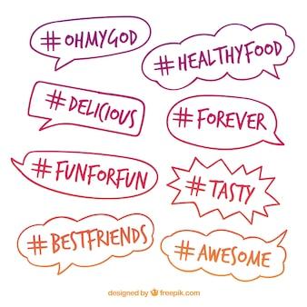 Diseño de hashtag con burbujas de texto brillosos