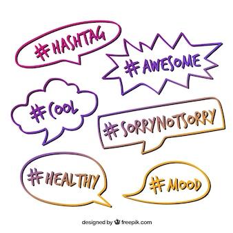 Diseño de hashtag con burbujas de texto