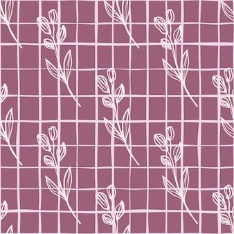 Diseño herbario dibujado a mano con flores blancas y comprobar sobre fondo rojo.
