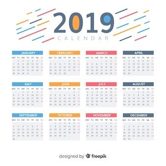 Diseño hermoso de calendario de 2019