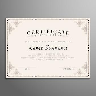 Diseño hermoso de certificado abstracto