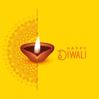 Diseño hermoso de la tarjeta de felicitación de diwali con arte del mandala y diya