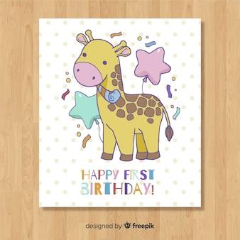 Diseño hermoso de tarjeta del primer cumpleaños