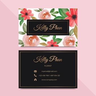 Diseño hermoso de la tarjeta de visita de la flor de la acuarela