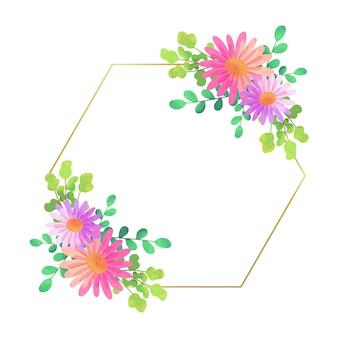 Diseño hexagonal de marco floral de boda