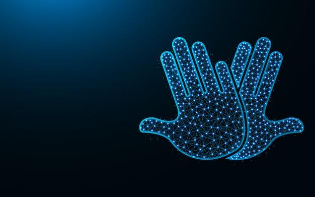 Diseño de high five low poly, imagen geométrica abstracta de las manos, aplaudir ilustración de vector poligonal de malla de alambre hecho de puntos y líneas