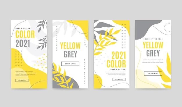 Diseño de historias de instagram amarillo y gris
